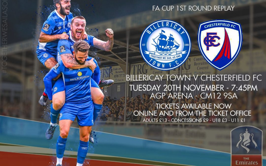 Tickets Now Available for The FA Cup Replay against Chesterfield FC