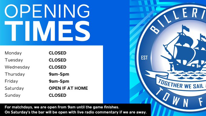 Club Shop Opening Times